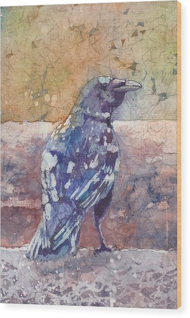 Wood Print featuring the painting Crow by Ruth Kamenev