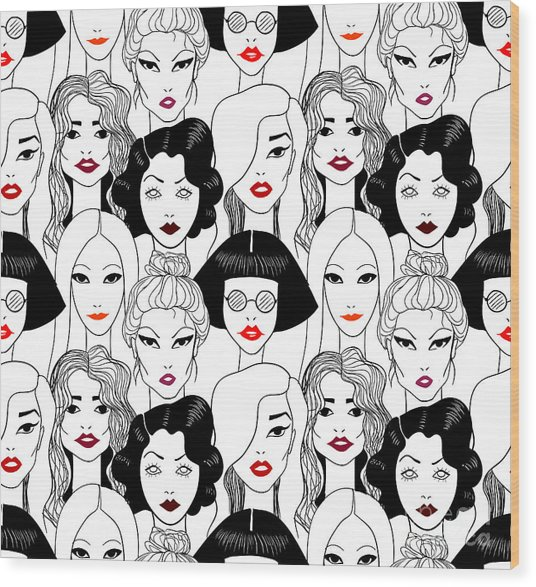 Crowd Of Women With Red Lips Seamless Wood Print