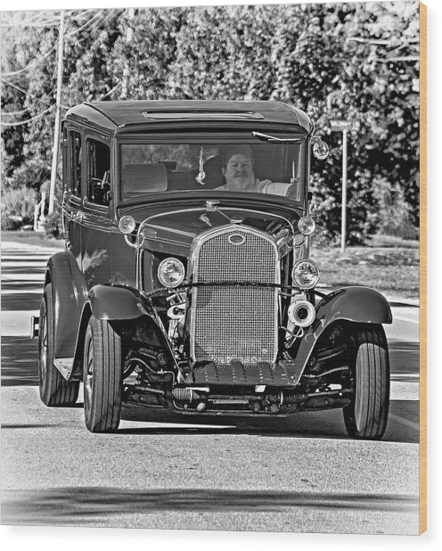Cruising Sauble Beach - Red Ford Hotrod Bw Wood Print