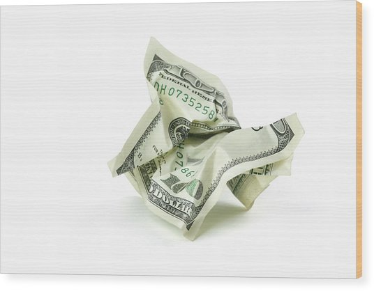 Crumpled Money With Clipping Path Wood Print by Georgepeters
