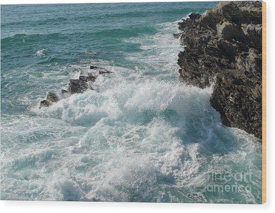 Crushing Waves In Porto Covo Wood Print