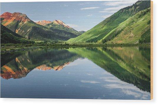 Crystal Lake Red Mountain Reflection Wood Print