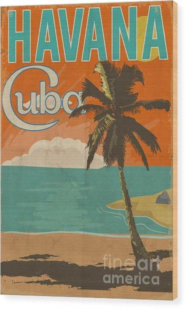 Cuba Havana Poster Illustration Wood Print