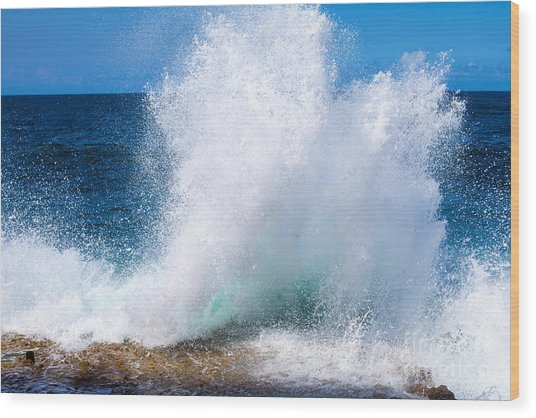 Cuba. Island. Ocean. Sea. Waves Wood Print