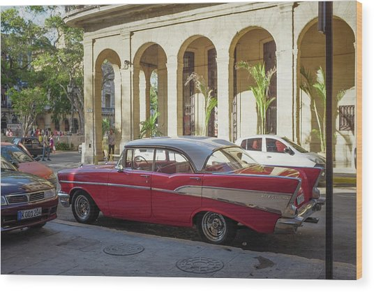 Cuban Chevy Bel Air Wood Print