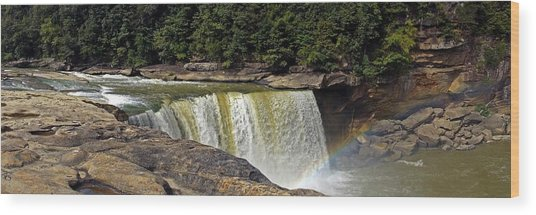 Wood Print featuring the photograph Cumberland Falls And Rainbow Panorama by Mike Murdock