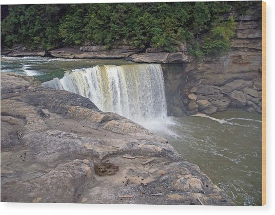 Wood Print featuring the photograph Cumberland Falls In The Evening by Mike Murdock