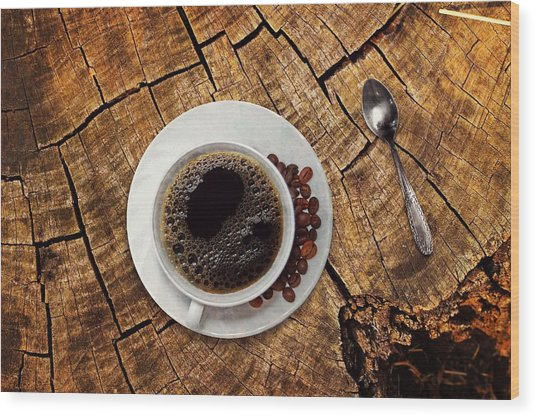 Cup Of Coffe On Wood Wood Print