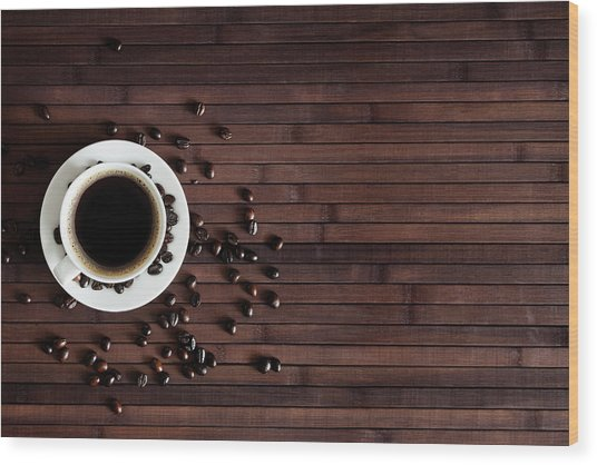 Cup Of Fresh Coffee On Dark Wood Wood Print