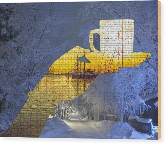 Cup Of Tea In The Winter Evening Wood Print