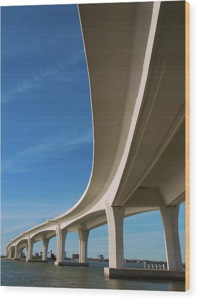Curved Bridge Overpass Over The Water Wood Print by Dsharpie