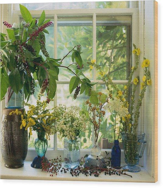 Cut Wild Flowers In Vases On Wood Print