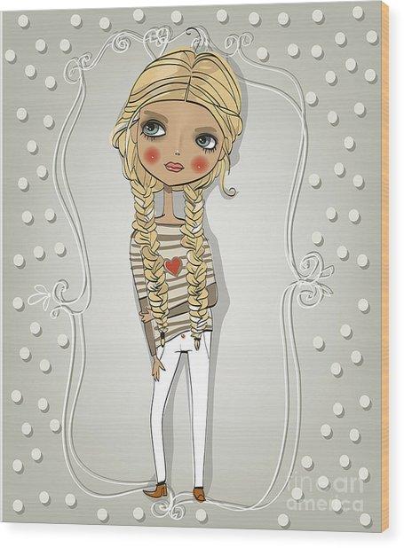 Cute Blonde Girl Wood Print