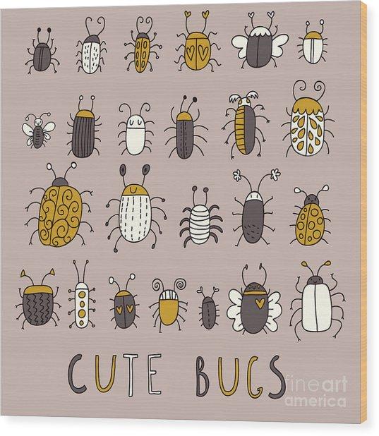 Cute Bugs âVector Set In Retro Wood Print