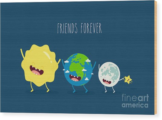 Cute Cartoon Planet Earth, Sun, Moon Wood Print