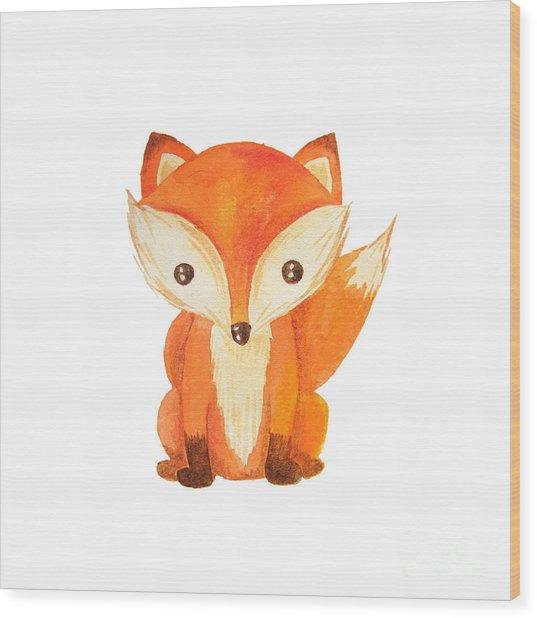 Cute Cartoon Watercolor Forest Animal Wood Print by Zabrotskaya Larysa