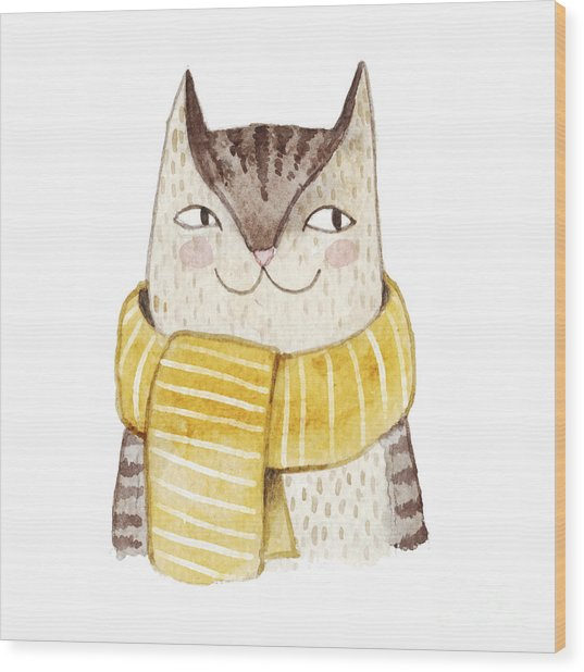 Cute Cat In Scarf . Watercolor Wood Print