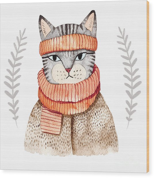 Cute Cat In Scarf .illustration With Wood Print