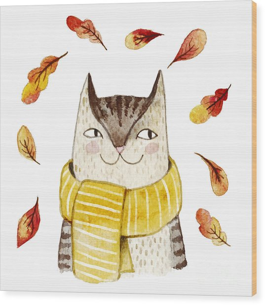 Cute Cat In Scarf With Autumn Leaves Wood Print