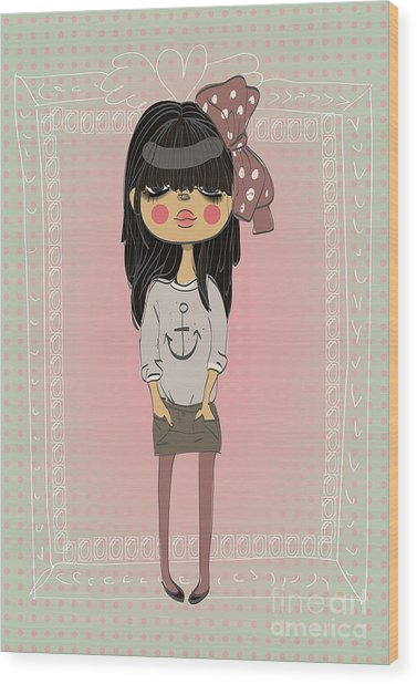 Cute Fashion Little Girl With Frame Wood Print