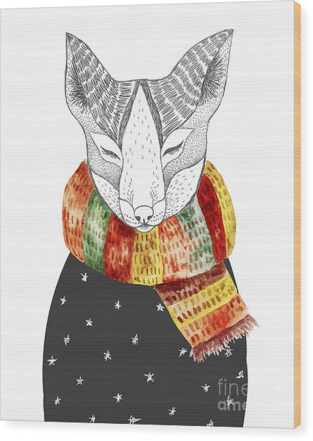 Cute Fox In Scarf. Vector Watercolor Wood Print