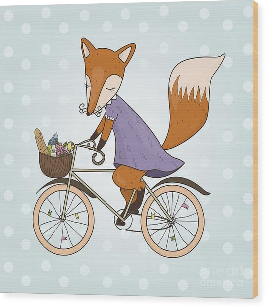 Cute Fox Riding On A Bicycle .bicycle Wood Print by Maria Sem