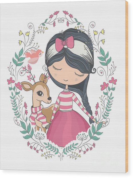 Cute Girl And Little Deer Vector Design Wood Print