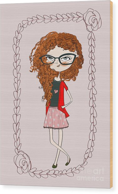 Cute Little Fashion Girl With Doodle Wood Print