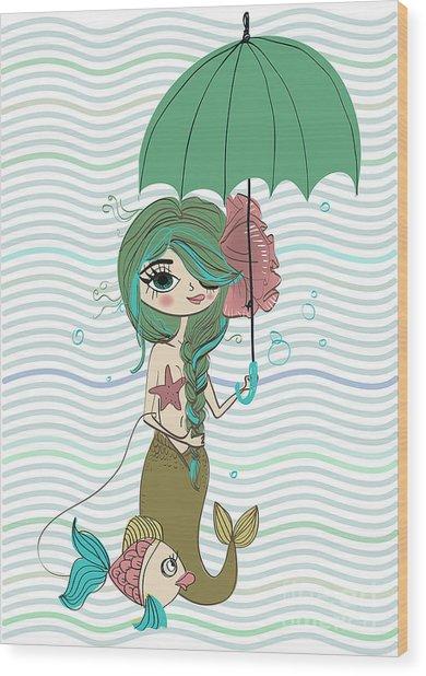 Cute Mermaid With Umbrella Wood Print