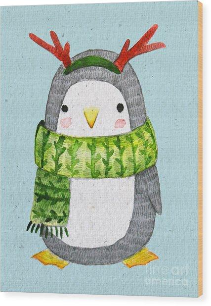 Cute Penguin In Scarf. Watercolor Wood Print