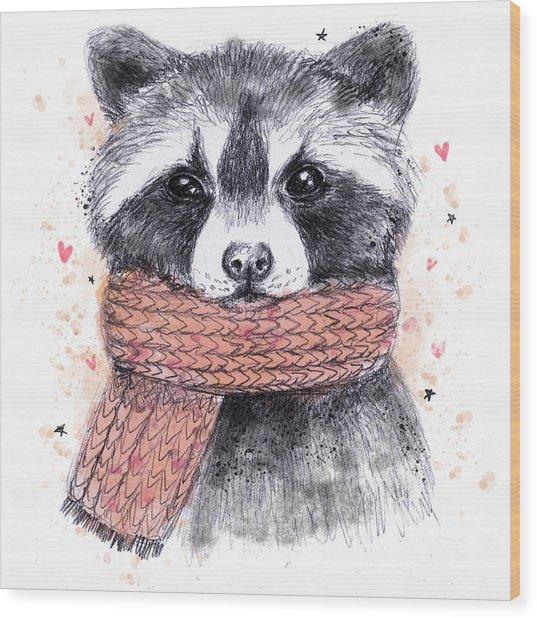 Cute Raccoon With Scarf , Sketchy Wood Print