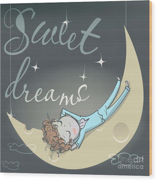 Cute Sleeping Girl On The Moon Wood Print by Elena Barenbaum