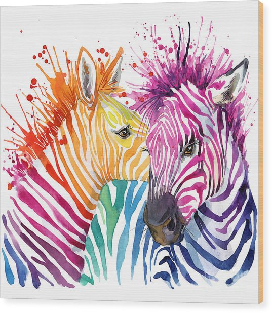 Cute Zebra. Watercolor Illustration Wood Print by Faenkova Elena