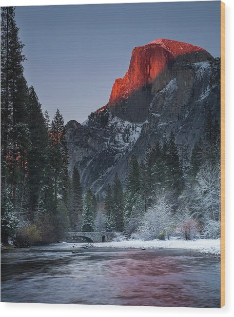 Cutting Half Dome Wood Print by Chase Dekker Wild-life Images