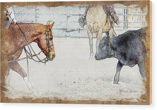 Cutting Horse At Work Wood Print
