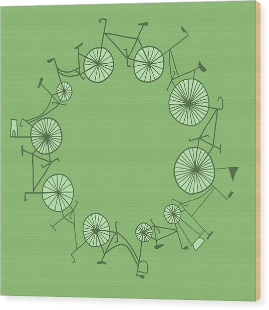 Cycle Wood Print by Illustrations