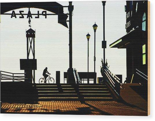 Cyclist At Sunrise, Ocean City Boardwalk Wood Print