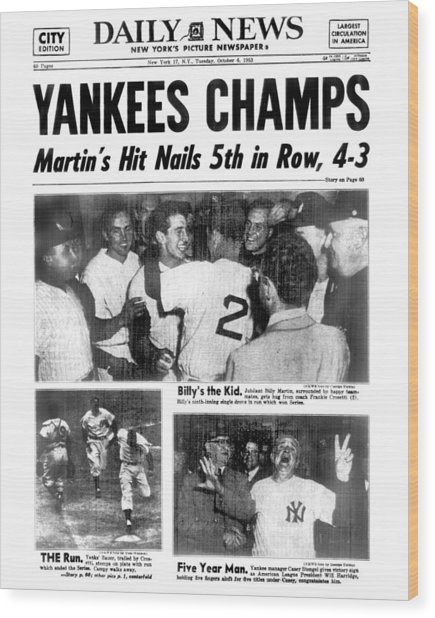 Daily News Back Page Dated Oct. 6, 1953 Wood Print by New York Daily News Archive
