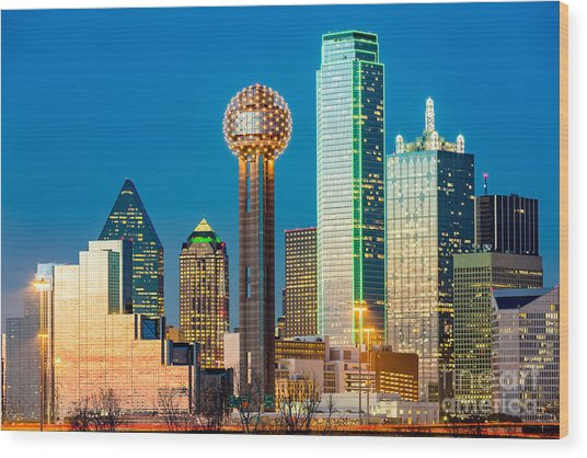 Dallas Skyline At Sunset Wood Print