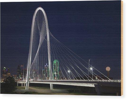 Dallas' Suspension Bridge At Night Wood Print by Dhughes9