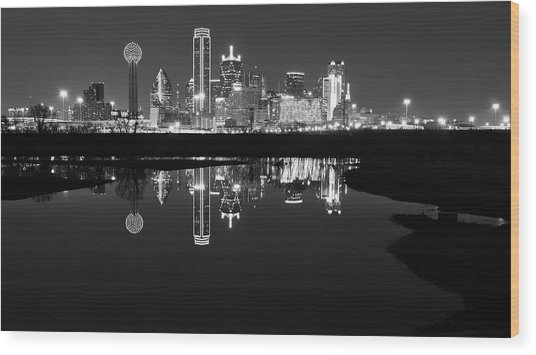 Dallas Texas Cityscape Reflection Wood Print