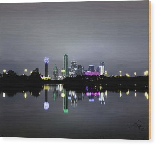 Dallas Texas Cityscape River Reflection Wood Print