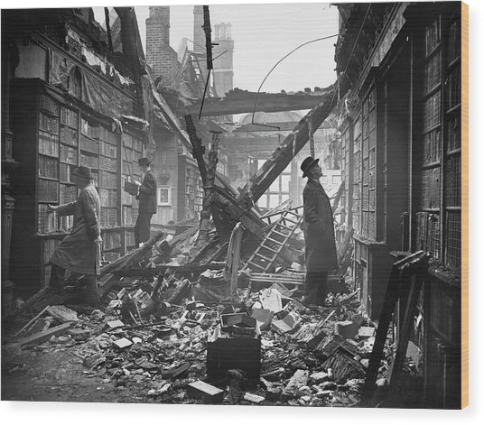 Damaged Library Wood Print by Central Press
