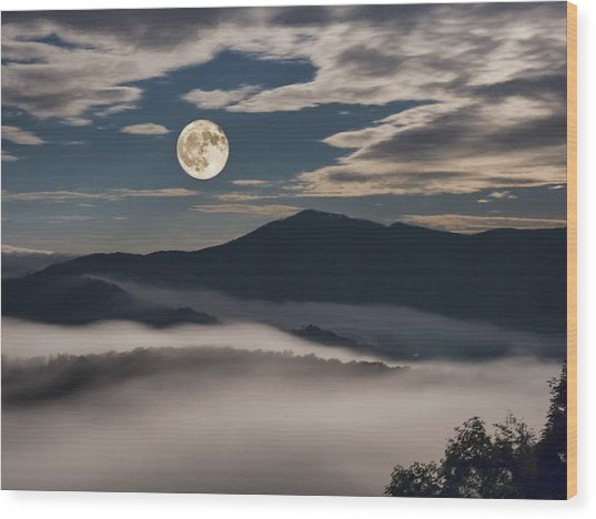 Dance Of Clouds And Moon Wood Print