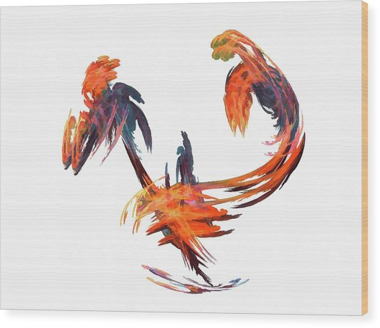Dance Of The Birds Orange Wood Print