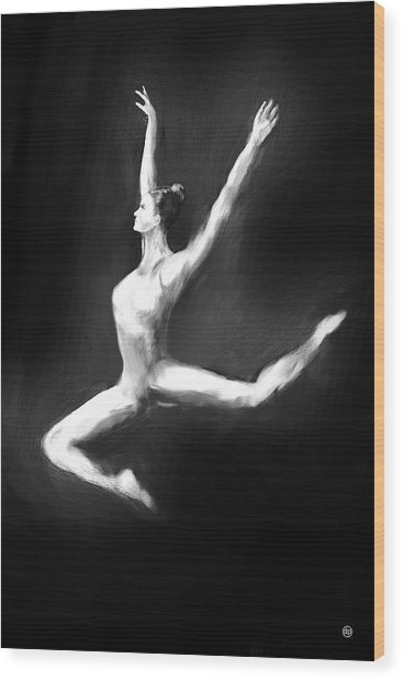 Dancer In Black And White Wood Print