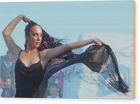 Dancer With Shawl Wood Print by Digby Merry