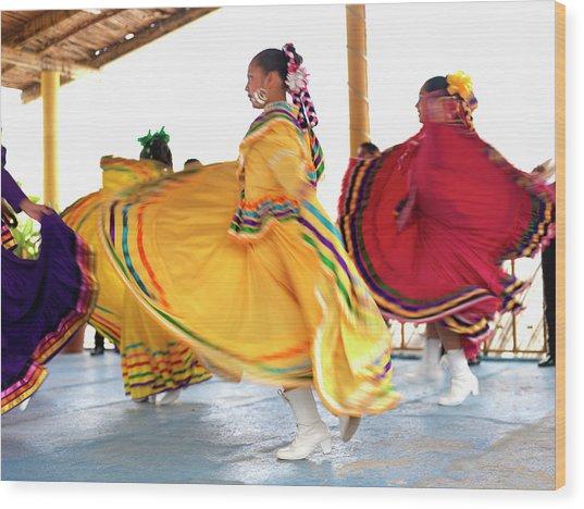 Dancers In Folkloric Costume Performing Wood Print