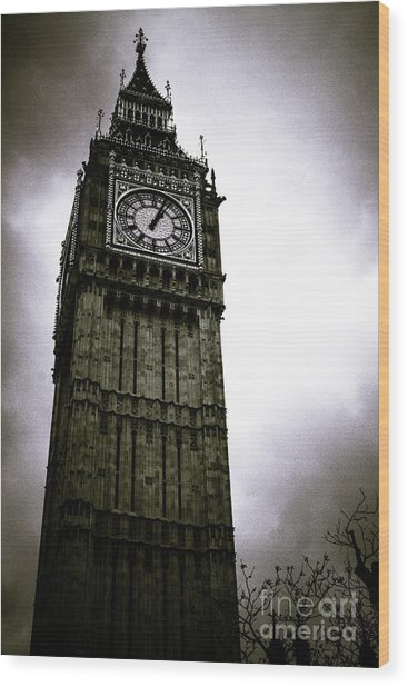 Dark Big Ben Wood Print