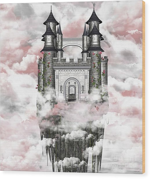 Dark Romantic Castle Wood Print